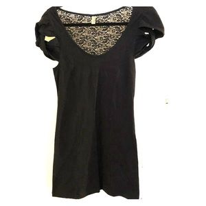 Free People perfect little black dress w/ lace